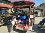We get a tuk tuk from jetty to hotel