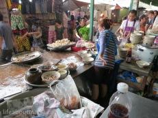 Pork noodle soup, Fresh mushroom with bacon wrap, Chatuchak Weekend Market