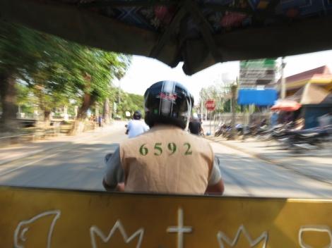 On a tuk tuk in Siem Reap