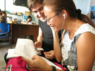 Leaning Burmese language from British - meet my friend Patrick, PHD student, doing research in Burma.